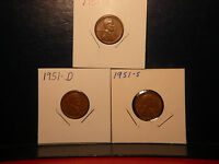 1951, 1951 -D, 1951-S    LINCOLN WHEAT-BACK CENTS