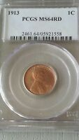 1913 LINCOLN PENNY MINT STATE 64RD PCGS