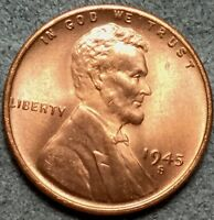 1945 S RB RED/BROWN UNCIRCULATED LINCOLN WHEAT CENT PENNY L572 FREE SHIP