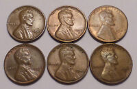 LOT OF 6 LINCOLN WHEAT PENNIES - 1944 D 1945 S 1946 D 1946 P 1947 D 1947 S