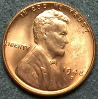1948 D UNCIRCULATED RD RED LINCOLN WHEAT CENT PENNY L944 FREE SHIP