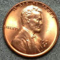 1951 D RED RD UNCIRCULATED LINCOLN WHEAT CENT PENNY L605 FREE SHIP