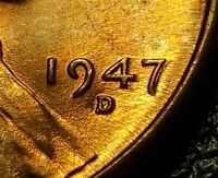 1947 D LINCOLN WHEAT CENT DOUBLE 7 UNCIRCULATED  W25069
