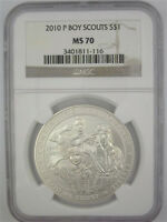 2010 P BOY SCOUTS UNCIRCULATED COMMEMORATIVE SILVER DOLLAR NGC MS70