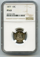 1877 10C LIBERTY SEATED LIBERTY DIME PCGS PROOF 63  GOLD RIM TONING