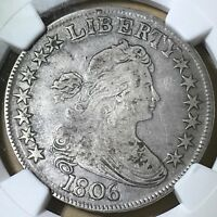 1806 DRAPED BUST/POINTED 6 WITH STEM SILVER HALF DOLLAR CERTIFIED NGC F15
