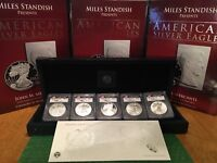 2011 US MINT SILVER EAGLE 5 COIN 25TH ANNIVERSARY SET   MERCANTI FLAG   POP 10