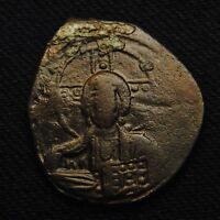 BYZANTINE EMPIRE CHRIST FACING ANONYMOUS CLASS A2 BRONZE FOLLIS