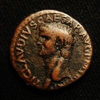 ROMAN IMPERIAL AE AS EMPEROR CLAUDIUS RV MINERVA ADVANCING AD 42 54 SPANISH MINT