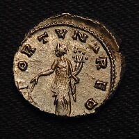 BILLON ANTONINIANUS EMPEROR GALLIENUS RV FORTVNA RED  MILAN AD 266  3.91 GRAMS