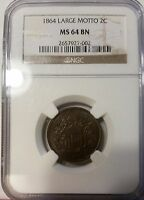 1864 2C TWO CENT PIECE LARGE MOTTO BN NGC 64