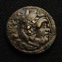 MACEDON AE20 ALEXANDER III  POSTUMUS  HERAKLES RV CLUB QUIVER BOW W/ TORCH BELOW