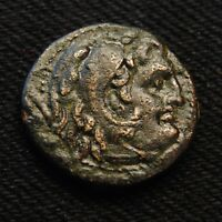 KINGDOM OF MACEDON AE19 PHILIP V BUST OF HERAKLES RV HORSEMAN 5.88 GR