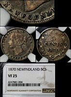 MARCH MADNESS   NEWFOUNDLAND 5 CENTS   1870 3 DOT DOUBLE DIE OBVERSE  LX119C