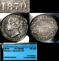 MARCH MADNESS   NEWFOUNDLAND 10 CENTS   1870 2 DOT REPUNCHED 870  LX119E
