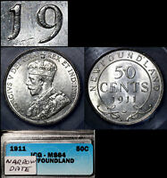 MARCH MADNESS   NEWFOUNDLAND 50 CENTS   1911 REPUNCHED 19   MS64 WOW  LX133B