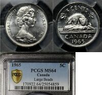 MARCH MADNESS   CANADA 5 CENTS   1965   LARGE BEADS PCGS MS64 WOW  LX069