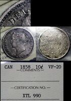 MARCH MADNESS   CANADA 10 CENTS   1858 BLUNDERED MARKER I IN DEI   VF20  F304