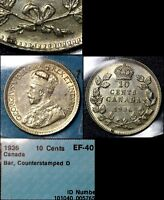 MARCH MADNESS   CANADA 10 CENTS   1936 BAR WITH COUNTERSTAMP   EF40  F308