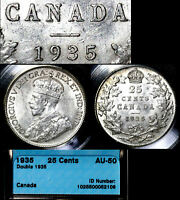 MARCH MADNESS   CANADA 25 CENTS   1935 DOUBLE DATE LY  AU50  LX106