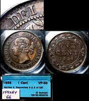 MARCH MADNESS   CANADA LARGE CENT   1859 REPUNCHED D DEI  HAXBY66   N031B