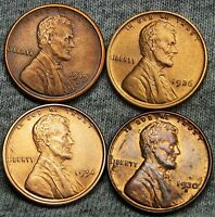 1919-S 1926  1930-S  1934 LINCOLN WHEAT CENTS --- STUNNING DETAILS --- D766
