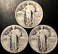1926-1927-1928 STANDING LIBERTY QUARTERS 90 SILVER [LOT |1635|]