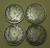 LIBERTY V-NICKELS, 1883 WITH CENTS, 1909, 1910 & 1911    BETTER COINS