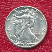 1943-D WALKING LIBERTY SILVER HALF CHOICE ABOUT UNCIRCULATED SHIPS FREE