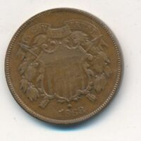 1868 TWO CENT PIECE-  CIRCULATED 2 CENT COPPER-SHIPS FREE INV:2