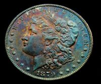 1879-S REV.-78  MORGAN SILVER DOLLAR RAINBOW NATURALLY TONED.