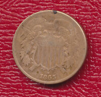 1865 TWO CENT PIECE U.S. CIVIL WAR DATE SHIPS FREE