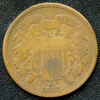 1865 UNITED STATES 2 CENT COIN