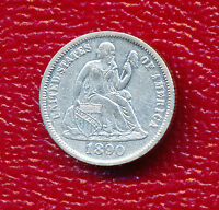 1890 SEATED LIBERTY SILVER DIME  CIRCULATED COIN SHIPS FREE