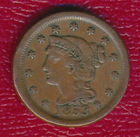 1853 BRAIDED HAIR LARGE CENT LIGHTLY CIRCULATED TYPE COIN SHIPS FREE