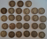 BARBER HALF DOLLARS - 27 COINS - MIXED DATES