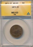 1871 TWO CENT 2 CENT COPPER-ANACS CERTIFIED MINT STATE 63 RED BROWN-SHIPS FREE