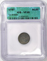 1797 DRAPED BUST HALF DIME - ICG  FINE VF25 -  PROBLEM FREE & ORIGINAL