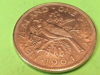 NEW ZEALAND LARGE COPPER 1964   COMBINE SHIPPING 1 TO 10 COINS FOR $2.60