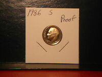 1986 S   PROOF  ROOSEVELT   DIME     NICE