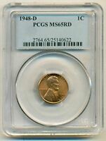 1948 D LINCOLN CENT MINT STATE 65 RED PCGS