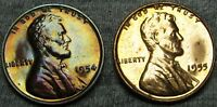 1954 1955 PROOF LINCOLN WHEAT CENTS --- GEM PROOF LOT --- A736