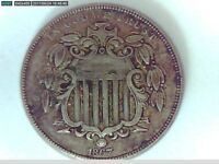 1867 U.S. SHIELD NICKEL5 CENT COIN WITH RAYS