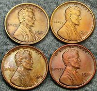 1919-S  1921  1928-D 1929-D LINCOLN CENT WHEAT CENT- STUNNING DETAILS  D749