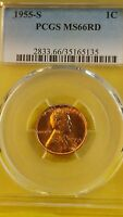 1955-S 1C RD LINCOLN CENT MINT STATE 66 RD PCGS