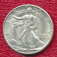 1943-D WALKING LIBERTY SILVER HALF DOLLAR ABOUT UNCIRCULATED SHIPS FREE