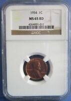 1954 LINCOLN WHEAT CENT PENNY 1C NGC MINT STATE 65 RD RED