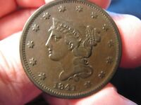 1841 BRAIDED HAIR LARGE CENT V.F  SHIPS FREE