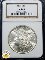 1879-S $1 MORGAN SILVER DOLLAR NGC MINT STATE 63 CERTIFIED.