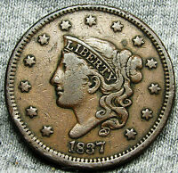 1837 CORONET HEAD LARGE CENT --- TYPE COIN,  DETAILS --- N166